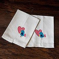 Cotton dish towels, 'Lovey Dove' (pair) - Hand-Painted Cotton Bird Theme Dish Towels (Pair)