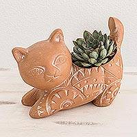Terracotta flower pot, 'Kitty Cat Stretches' - Salvadoran Brown Cat Theme Ceramic Flower Pot