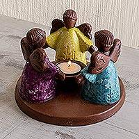 Ceramic tealight candleholder, 'Three Angels of Light' - Colorful Ceramic Tealight Candleholder with 3 Little Angels