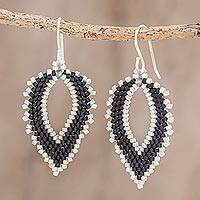 Glass beaded dangle earrings, 'Leafy Subtlety' - Black and White Glass Beaded Dangle Earrings