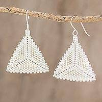 Glass beaded dangle earrings, 'White Triangles' - Triangular Glass Beaded Dangle Earrings in White