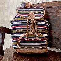 Cotton backpack, 'Antigua Lands' - Artisan Crafted All Cotton Unisex Backpack