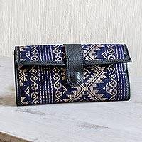 Handwoven cotton and faux leather wallet, 'Sweet Journey in Navy' - Navy and Beige Cotton and Faux Leather Wallet