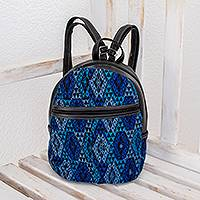Handwoven cotton and faux leather backpack, 'Guatemalan Skies' - Blue Cotton and Black Faux Leather Backpack