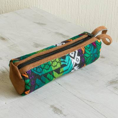 Handwoven cotton travel case, 'Antigua Highlands' - Colorful Travel Case Hand Woven from Cotton