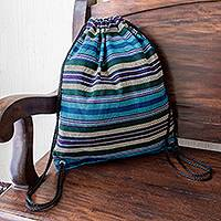 Handwoven cotton backpack, 'On the Go in Blue' - Blue Striped Handwoven All Cotton Backpack