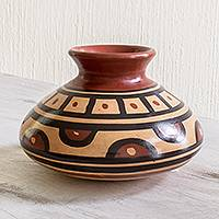 Ceramic decorative vase, 'Time and History' - Handcrafted Pre-Hispanic Style Decorative Ceramic Vase