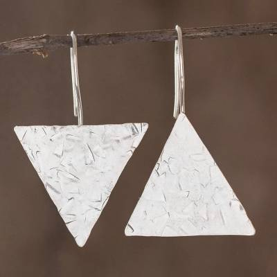 Sterling silver drop earrings, 'Up and Down' - Modern Sterling Silver Asymmetric Geometric Earrings