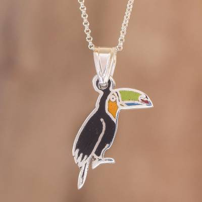 Enameled sterling silver pendant necklace, 'Colorful Toucan' - Enameled Sterling Silver Costa Rican Toucan Pendant Necklace