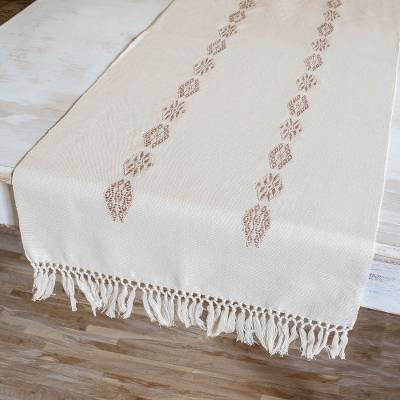 Cotton table runner, 'Mountains and Valleys in Ecru' - Hand Woven Cotton Table Runner in Ecru