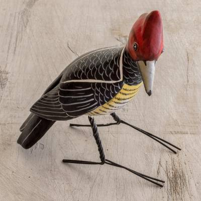 Ceramic figurine, 'Helmeted Woodpecker' - Handcrafted Posable Ceramic Helmeted Woodpecker Figurine