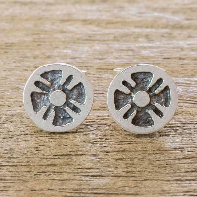 Sterling silver stud earrings, 'Flower of the Maya' - Stylized Flower Sterling Silver Stud Earrings