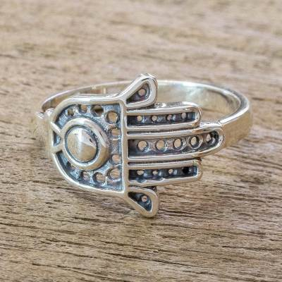 Sterling silver cocktail ring, 'Fatima's Hand' - Sterling Silver Heart Hamsa Hand of Fatima Ring