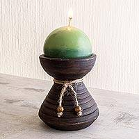 Ceramic candleholder with candle, 'Natural Light in Green' - Round Green Candle with Ceramic Candleholder