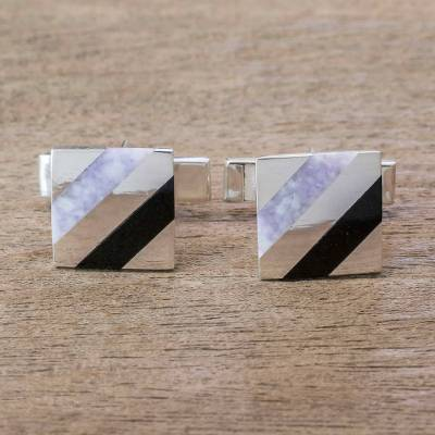 Jade pendant cufflinks, 'Lilac Parallels' - Sterling Silver and Natural Lavender Jade Cufflinks