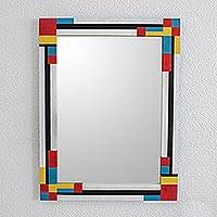 Wood wall mirror, 'Modern Homage' - Hand Painted Rectangular Wall Mirror from Guatemala