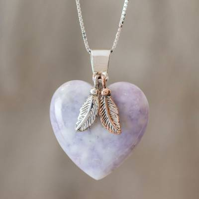 Jade pendant necklace, 'Lavender Heart' - Natural Lavender Jade and Sterling Silver Heart Necklace