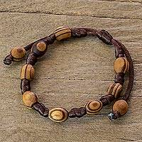 Wood beaded bracelet, 'Beautiful Nature' - Handcrafted Brown Macrame Bracelet with Parota Wood Beads