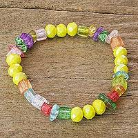 Glass beaded bracelet, 'Be Happy' - Handcrafted Colorful Glass Beaded Stretch Bracelet