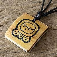 Bamboo pendant necklace, 'Mayan Protection Goddess' - Bamboo Pendant Necklace with a Maya Protection Goddess Glyph