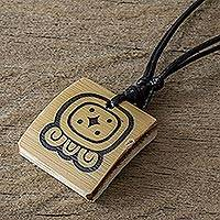 Bamboo pendant necklace, 'Mayan Seed of Creation' - Bamboo Pendant Necklace with the Maya Seed of Creation Glyph