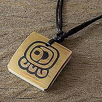 Bamboo pendant necklace, 'Mayan Sun's Energy' - Bamboo Pendant Necklace with the Mayan Sun's Energy Glyph