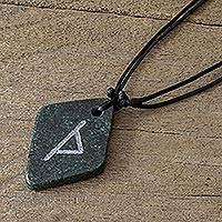 Jade pendant necklace, 'Rune Thurisaz' - Unique Green Jade Rune Necklace from Guatemala