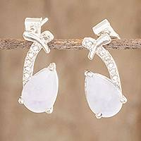 Jade drop earrings, 'Pale Lilac Drops' - 925 Sterling Silver Lilac Jade Drop Earrings from Guatemala