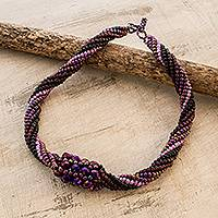 Beaded torsade necklace, 'Purple Rain' - Purple Beaded Torsade Necklace from Guatemala