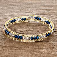 Beaded wrap bracelet, 'Brilliant Blue' - Blue and Gold Crystal Beaded Wrap Bracelet