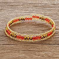 Beaded wrap bracelet, 'Brilliant Orange' - Orange and Gold Beaded Handmade Wrap Bracelet