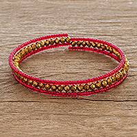 Beaded wrap bracelet, 'Brilliant Red and Gold' - Wrap Bracelet Hand Crafted with Glass Beads