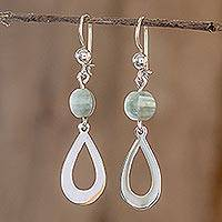Jade dangle earrings, 'Ancestral Beauty Apple Green' - Apple Green Jade and Sterling Silver Dangle Earrings