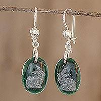 Jade dangle earrings, 'Nature of God - Rabbit' - Sterling Silver and Jade Rabbit Dangle Earrings