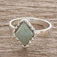 Jade cocktail ring, 'Ice Green Diamond' - Sterling Silver Ring with an Ice Green Jade Diamond