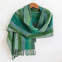 Cotton shawl 'Cooling Country Breeze' - Green and Turquoise Handwoven Guatemalan Cotton Shawl