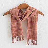 Cotton scarf, 'Marigold Fuchsia Honey' - Orange-Brown-Fuchsia Handwoven Cotton Scarf from Guatemala