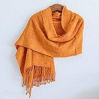 Rayon shawl 'Textured Tangerine' - Guatemala Backstrap Handwoven Yellow-Orange Rayon Shawl