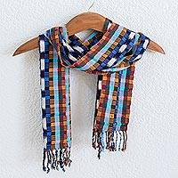 Cotton scarf, 'Cool Gumdrops' - Backstrap Handwoven Cotton Scarf in Cool Blues and Violet