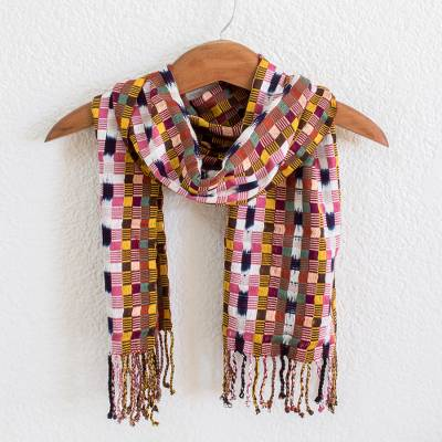 Cotton scarf, 'Rosy Gumdrops' - Handwoven Rose & Multicolor Cotton Scarf from Guatemala