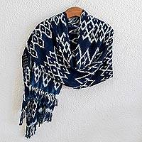 Rayon ikat shawl, 'Navy Blue Silhouettes' - Navy and White Ikat Shawl from Guatemala