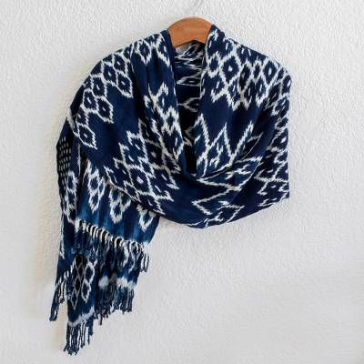 Rayon ikat shawl, Navy Blue Silhouettes
