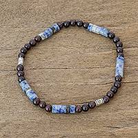 Garnet and sodalite beaded stretch bracelet, 'Highland Color' - Beaded Stretch Bracelet with Garnet and Sodalite