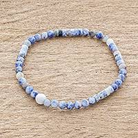 Sodalite and jade beaded stretch bracelet, 'Sky's the Limit' - White Jade and Sodalite Beaded Bracelet
