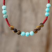 Tiger's eye beaded necklace, 'Earth Inspiration' - Adjustable Tiger's Eye and Reconstituted Turquoise Necklace