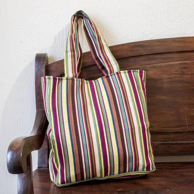 Cotton shoulder bag, 'San Jose Stripes' - Lined All Cotton Striped Shoulder Bag