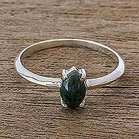 Jade solitaire ring, 'Natural Illusion' - Dark Green Jade Solitaire Ring