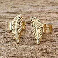 Gold stud earrings, 'Dainty Feathers' - 14k Gold Feather Stud Earrings from Guatemala