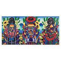 'Beauties of Guatemala' - Maya Women Selling Flowers in Atitlan Painting