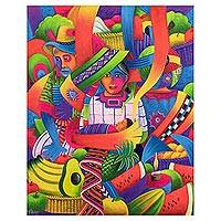 'Family in the Market' - Colorful Signed Cubist Oil Painting of a Guatemalan Market